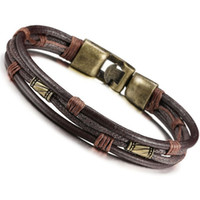 alloy lobster buckle - Vintage leather bracelets man Bracelet Bangle personality multi layered woven Wrist Band Brown rope simple buckle bracelet jewelry cheap