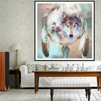 Wholesale 5D DIY Aniaml Wolf Wind Chimes Full of Diamond Painting Cross Stitch Kits Over drilling Home Decoration