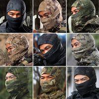 5 Color Jefe de la máscara apretado Multicam Camo Balaclava Tactical Airsoft Caza al aire libre Paintball Motociclismo Esquí Ciclismo Proteger máscara facial
