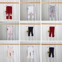 Wholesale QX25 NEW ARRIVAL screw thread girls Kids leggings tights child Cotton cartoon lace patchwork pants causal elegant girl child trousers