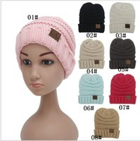Wholesale Sell of Europe and the United States autumn winter CC labeling children wool knitted cap sleeve head cap outdoor warm hat
