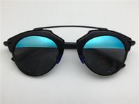 al por mayor gafas de sol de espejo redondo-Las mujeres redondas de la nueva manera forman a marca de fábrica del deisnger lente del color de la lente del color de la lente del espejo de la capa del estilo del verano así que las gafas de sol verdaderas con el caso original