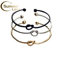 Wholesale Hot Selling Simple Design Knot Bracelets For Women And Men Charm Love Knot Open Bracelet Bangles Colors Cuffs Jewelry Gifts