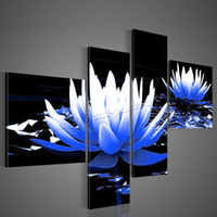barbados pictures - 4 Panel Modern Hand Painted Barbados Flower Oil Painting Canvas Cuadros Decoracion Wall Picture For Living Room Unframed XY062