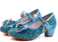 Wholesale Kids Girls High Heels For Party Sequined Cloth Blue Pink Shoes Ankle Strap Snow Queen Children Girls Pumps Shoes