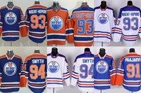 al por mayor ryan smyth-Oilers # 91 Paajarvi # 93 de Edmonton de los hombres del enchufe de fábrica Los mejores jerseys blancos anaranjados azules del hockey sobre hielo de Ryan Nugent-Hopkins # 94 Smyth liberan el envío