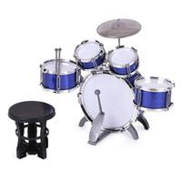 achat en gros de ensembles de batterie-Ensemble de batterie pour enfants Ensemble d'instruments de musique 5 tambours avec petit tambour de cymbale Tambour pour les garçons Filles