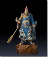 antique bronze paint - 48cm HUGE Art Sculpture High grade hand painted pure bronze guangong warrior