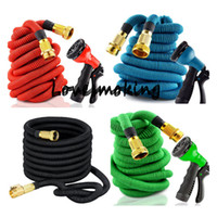 Wholesale 75ft ft Expandable Magic Flexible Garden Hose copper ends natural latex Car Water Hose Pipe Plastic Hoses To Watering With Spray Gun