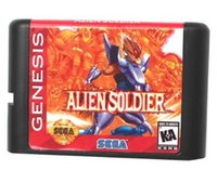 aliens cards - MD Game card Games Cartridge Alien Soldier USA Label For bit Sega MegaDrive Genesis Sega Game console