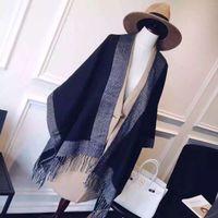 Wholesale 2016 new winter fashion all match classic lady grey black Pashmina Scarf warm double cloak high end fashion