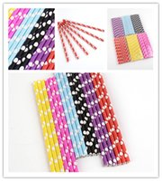 Wholesale Polka Dot Paper Straws Green Biodegradable Disposable Pipette Creative Paper Drinking Straws Birthday Party Wedding Colored Dot JF040