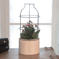 Wholesale Garden pot or Planters decoration PC New Arrival Geometric Shape Iron Wood Flower Room Cylinderical Wooden Box SX20