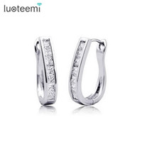 White classic inlay shaped - LUOTEEMI Classic U Style Shape Hoop Earrings with Clear Square Cubic Zircon Inlay for Women White Gold Color