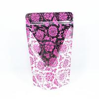 al por mayor bolsa de envases al por menor de la cremallera-Venta al por menor Púrpura 50Pcs / Lote cremallera Mylar Stand Up Aluminio Foil Borrar paquete de embalaje bolsa de alimentos Zip Lock Doypack Paquete Bolsas