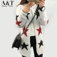 argyle cashmere sweater - Autumn Winter Knitted Full Sleeve Sexy Cardigan Long Sweater women O Neck Stars Christmas Argyle Wave Outwear Cashmere Tops