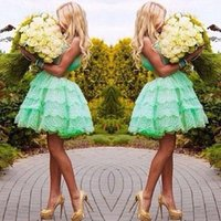 Wholesale 2017 Latest Sweety Graduation Dresses Sweetheat Neck Tiered Ball Gown Skirt Mint Green Lace Short Prom Dresses