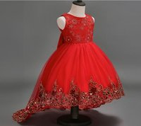 Wholesale High end beautiful flower children s clothing red applique lace sequins bow Flower Girls Dresses
