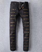 achat en gros de jean d'or-Senior designer marque 2017 robin jeans vélo Pâte manuelle en cristal d'ailes d'or noir robin jeans hommes de la mode zipper pantalon