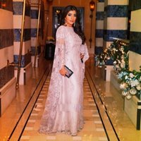 arab wear - Two pieces lace pink plus size long sleeves Arab floor length evening dresses guest evening wear prom dress gowns formal cocktail party