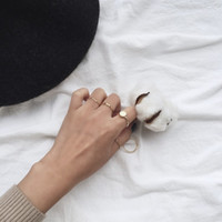 Wholesale South Korea simple delicate everyday set up female hipster round undulating mashup ring combination for ladiea