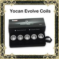 Original Yocan Evolve bobinas Quartz bobina doble de cerámica bobinas de bobina de reemplazo para ambos Yocan Evolve Pandon Wax Pen Vaporizer Kit
