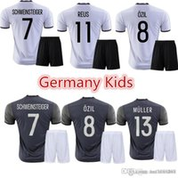Wholesale 5 kids Germany football shirts home away grey soccer uniforms kit OZIL REUS MULLER SCHWEINSTEI alemanha child shirts sets free shippi