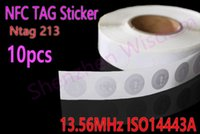 Ntag 213   Wholesale-10pcs NTAG 213 NFC Tags 144 bytes Rewritable Ntag213 Sticker 13.56MHz ISO14443A 25mm All NFC Phone Available Adhesive Labels