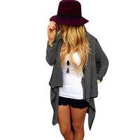 Wholesale- Alishebuy Black Cardigan Femmes kimono Sweater Casual Veste tricotée Plus Size Coat Femmes Pulls vestidos Cardigans
