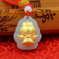 Wholesale Crown Smile Smiling angel Boutique pendant hot style Hetian white jade K D shape thick gold pendant size cm cm cm couple lover