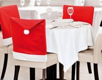Wholesale 12 Santa Claus Christmas Chair Covers x50cm Nov woven Red White Caps For Dinner Party For Home or Hotel