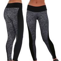 al por mayor mujer pantalón gris-Leggings elásticos de la alta cintura de las mujeres Pantalones corrientes del deporte de la yoga Leggings elásticos de la gimnasia de la aptitud (color: negro / gris Tamaño: S-XXL)