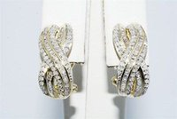 baguette diamond earrings - CT NATURAL ROUND BAGUETTE CUT DIAMOND HALF HOOP EARRINGS K
