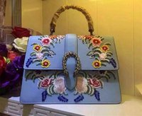 artwork baby - 2017 fashion women baby blue flower Embroidery genuine leather handbag women top quality leather shoulder bag