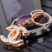 Wholesale Creative Brand Keychains Fashion Key Chains Rhinestone Keyrings Car Key Rings Holder Women Bag Charm Pendant Girls Jewelry Trinket