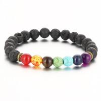 achat en gros de pierre précieuse pierre noire-New Top Plaza Hommes Femmes 8mm Colorful Lava Rock Perles Chakra Bracelet Noir Healing Energy Stone Gemstone Bracelet