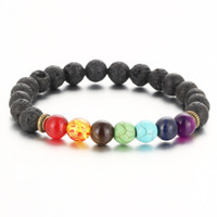 Beaded, Strands beaded gemstone - New Top Plaza Men Women mm Colorful Lava Rock Beads Chakra Bracelet Black Healing Energy Stone Gemstone Bracelet
