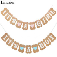 Wholesale Lincaier Baby Shower M Paper Its a Boy Girl Banner Party Baptism Decoration Bunting Favors Supplies Blue Pink Babyshower