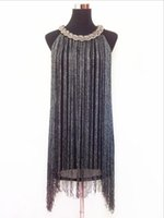 Wholesale GREAT GATSBY OMBRE METAL HALTER NECK BLACK FRINGE BEADED S FLAPPER CHARLESTON DRESS SEXY WINTER PARTY BODYCON