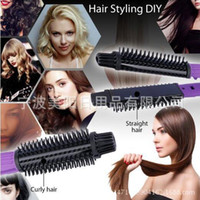 Wholesale Hair Straightens Curls Shines Volumizes Straightening Flat Curling Iron Hair Straightener Brush Tourmaline Ceramic Comb With Logo Packing