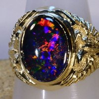 Wholesale BIG AUSTRALIAN OPAL MANS SOLID K YELLOW GOLD RING FIERY COLORS