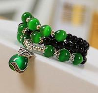 achat en gros de la mode verte nationale-Nouveau vent national original bracelet tibétain argent renard pendentif vert chat oeil dame agate perle main chaîne de bijoux mode petit cadeau