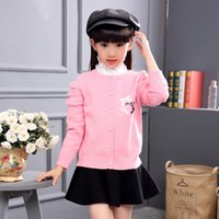 Wholesale 2016 autumn and winter new sweater Sweet and lovely border Girls knitted cardigan Large children sweater outwear