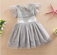Wholesale New children girl summer cotton lace fashion princess dress kids colour lace dress
