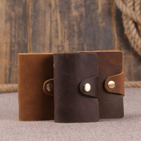 Wholesale Handmade Mens Genuine Leather Crazy Horse Leather Card Holder Leather Card Bag
