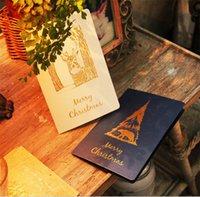 Wholesale Christmas greeting cards Fashion Bronze blessing card cm Christmas deer elk Polar bear Christmas tree for Festive blessing