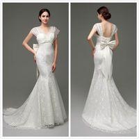 Wholesale 2016 Hot Sales Elegant Concise Beach Mermaid V Neck Wedding Dresses Strapless Bridal Dresses Sexy Bridal Dress