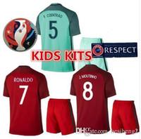 Wholesale New Product Kit Youth Kids European Cup Portugal Flgo Ronaldo Nanl Soccer Jersey Red Light Green Away Home Jerseys