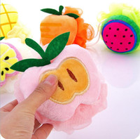 Wholesale cute bathroom accessories colorful fruit shape nylon bath balls flowers sponges scrubbers pull bath Shower