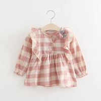Wholesale Baby Girls Ruffle Checker Dresses Kids Spring Boutique Clothing Korean Style Years Old Little Girls Long Sleeves Dresses